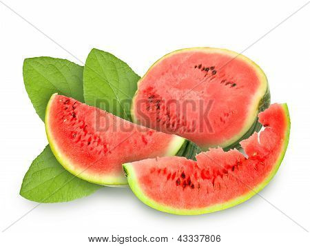 Fresh Red Watermelon And Green Leafs