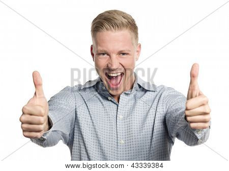 Fantastic job: Excited young businessman giving thumbs up while shouting isolated on white background.