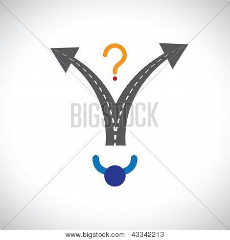 Confused Person Career Choice Decision Making Difficulty Graphic. The Illustration Also Represents D
