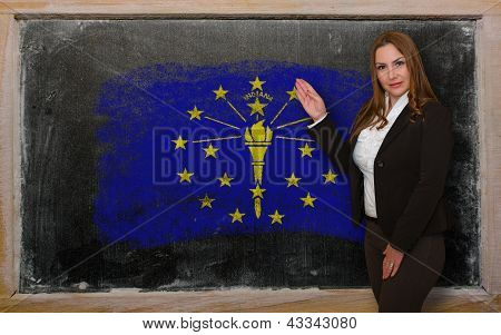 Teacher Showing Flag Ofindiana On Blackboard For Presentation Marketing And Tourist Advertising