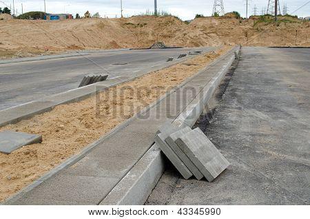 Highway Road Construction. Pavement Tiles Sidewalk