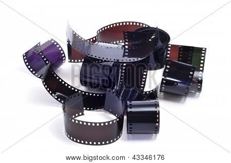 some strips of photographic film on a white background