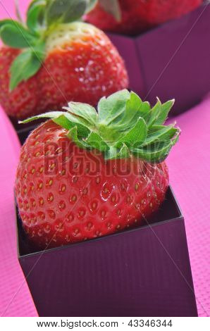 strawberries served in black cubical bowls, on a pink background