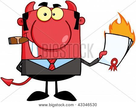 Devil Holding A Flaming Contract
