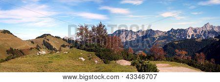 Mountain panorama in autumn