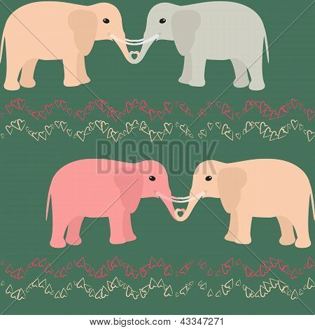 Seamless pattern with elephants and hearts