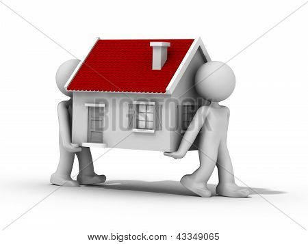 3D People Moving Their Home