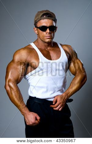 Handsome Muscular Man In Dark Glasses