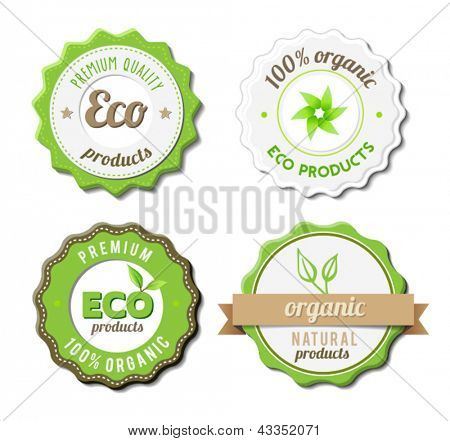 Four Eco Badges For Organic, Natural Products