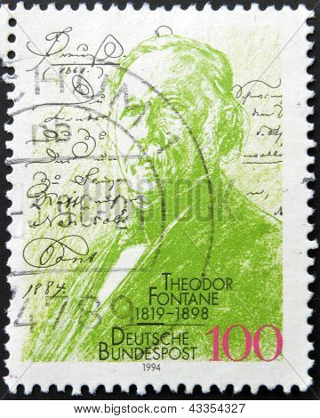 A stamp printed in Germany dedicated to the 75th anniversary of the birth Theodore Fontane