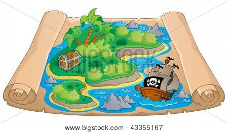 Treasure map theme image 4 - vector illustration.
