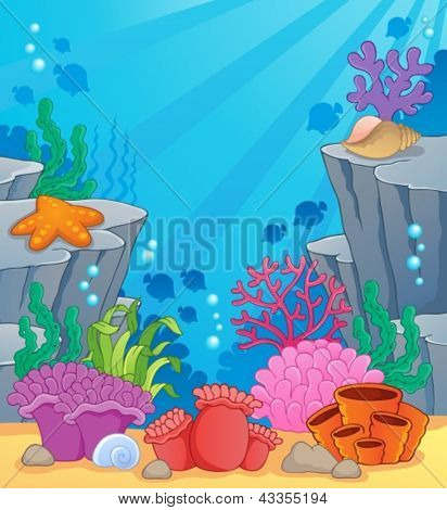 Image with undersea topic 3 - vector illustration.