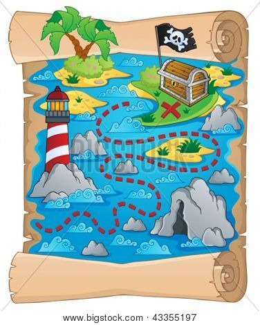 Treasure map theme image 5 - vector illustration.