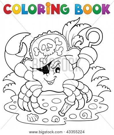 Coloring book with pirate crab - vector illustration.