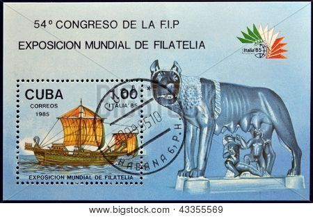 A stamp dedicated to World Philatelic Exhibition in Italy shows ship and the Capitoline she-wolf
