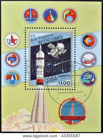 stamp printed in Cuba shows Soviet space program Intercosmos