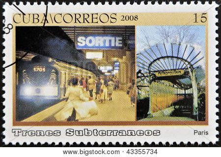 A stamp printed in Cuba dedicated to subways shows Paris subway