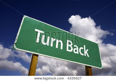 Turn Back Road Sign
