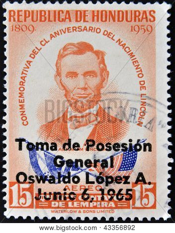 A stamp printed in Honduras shows Abraham Lincoln