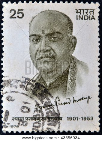 A stamp printed in India shows Syama Prasad Mookerjee