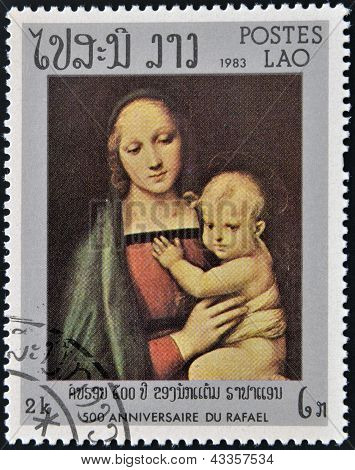 stamp printed in Laos shows Granduca Madonna by Raphael
