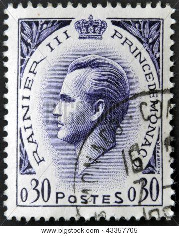 A stamp printed in Monaco shows Rainier III Prince of Monaco