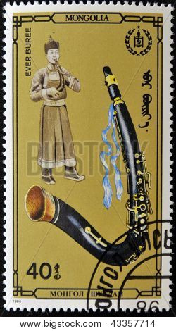 A stamp printed in Mongolia dedicated to Traditional Music of Mongolia shows ever buree