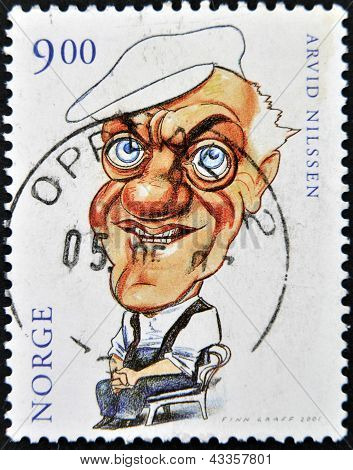 A stamp printed in Norway shows caricature of Arvid Nilssen
