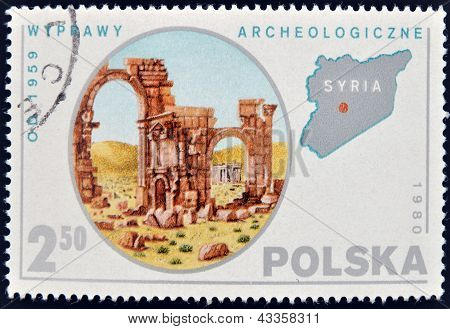 A stamp printed in Poland shows Expedition to Syria