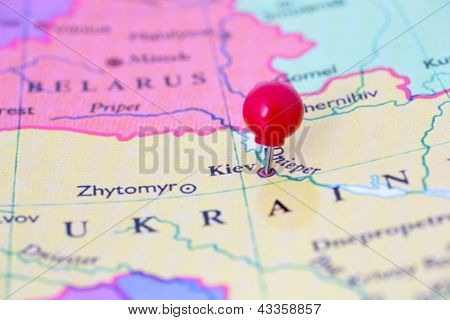 Red Pushpin On Map Of Ukraine