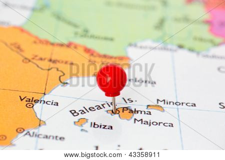 Red Pushpin On Map Of Majorca