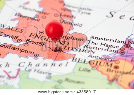 Red Pushpin On Map Of England