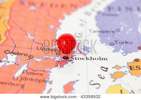 Red Pushpin On Map Of Sweden