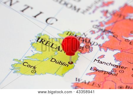 Red Pushpin On Map Of Ireland