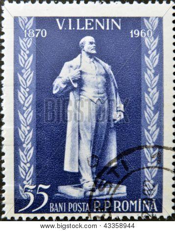 A stamp printed in Romanis shows Vladimir Ilyich Lenin