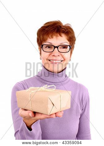 Funny Mature Woman With Surprise, Isoliert