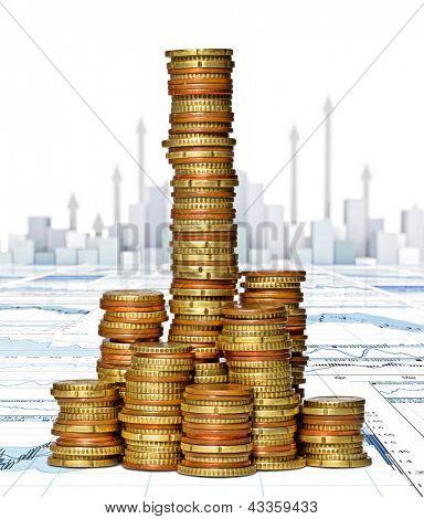 pilhas de ouro cêntimos de euro