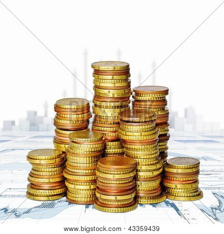 group of golden euro coin background
