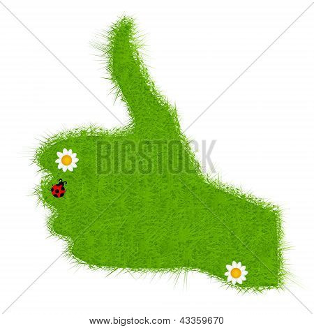 Hand grass green signal on white. vector illustration