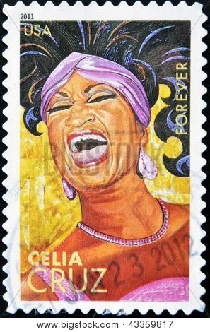 A stamp printed in USA shows Celia Cruz
