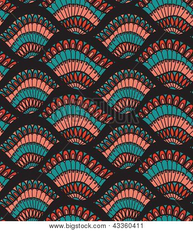 Leaf Shell Seamless Vector Pattern Wallpaper Background Cover Pink Blue Black For Textile And Interi