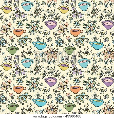 Beautiful Coffee Tea Cup Spring Summer Doodle Floral Vector Seamless Pattern Background Wallpaper Fo