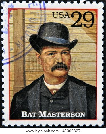 Stamp printed in USA shows William Barclay Bat Masterson lawman in the American Old West