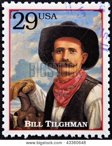 Stamp printed in USA shows Bill Tilghman lawman and gunslinger in the American Old West