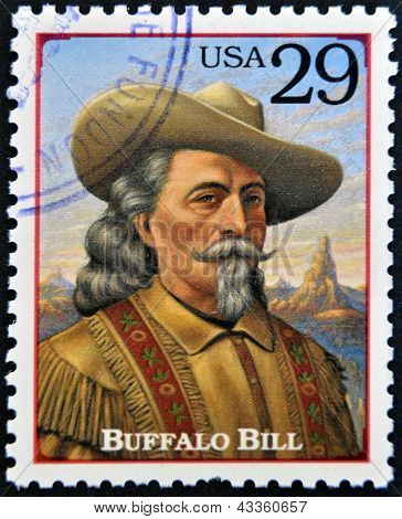 Stamp printed in USA shows portrait of the Buffalo Bill