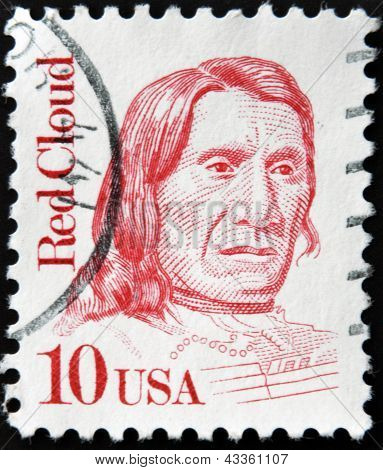 stamp printed in USA showing Red Cloud American war leader of the Oglala Lakota