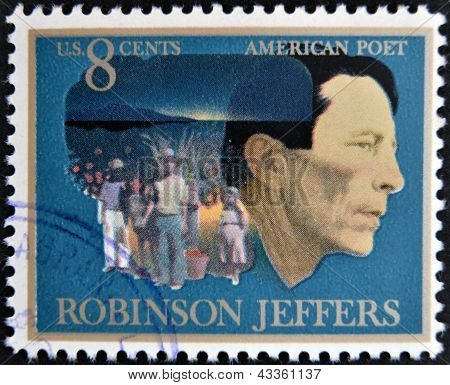 stamp printed in USA shows the portrait of American poet Robinson Jeffers