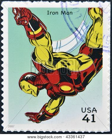 stamp printed in USA shows Iron Man