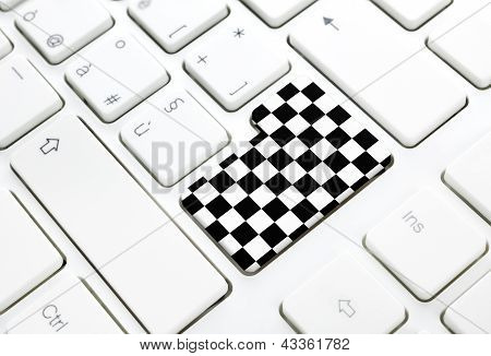 Gran Prix Motor Race Finish Chess Flag Concept Button Or Key On White Keyboard