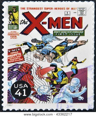 stamp printed in USA shows X-Men